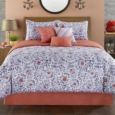 NEW Twin Full Queen King Bed Purple Coral White Floral 7pc Comforter Set Elegant