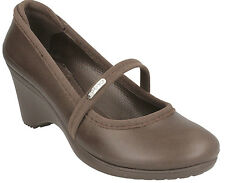 LADIES CROCS CASEY WOMEN SYNTHETIC SLIP ON STRAP COURT SHOES IN BROWN COLOUR