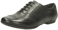 TIZZ HONEY GIRLS CLARKS BOOTLEG BROGUE STYLE LACE UP BLACK LEATHER SCHOOL SHOES