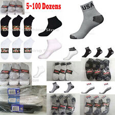 5~100 Dozen Men USA Logo White With Colors Black Gray Ankle Socks Wholesale Lot
