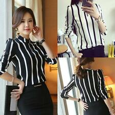 PLUS SIZE Sexy Womens Long Sleeve Chiffon Tops Casual Loose Striped Shirt Blouse