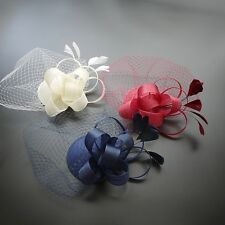 Ladies Fascinator Spring racing Wedding Party Veilling Feather Ascot