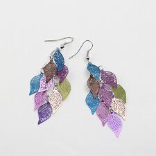 Copper Filigree Stamping Leaves Hollow Lady Hook Dangle Earrings Jewelry