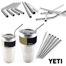 4 Stainless Steel Drinking Straws for Yeti Rambler Tumbler Cup + Cleaning Brush