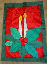 """CHRISTMAS CANDLES & Holly Large Decorative Flag 28"""" x 40"""""""
