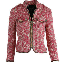 NWT JUICY COUTURE Black Label Womens Pink Metallic Boucle Jacket L S $268