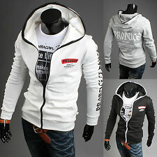 Mens Casual Slim Fit Sweatshirt Hoody Jacket Top Zip Pocket Coat Fleece Hoodies