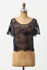Anthropologie Bamboo Mesh Top Sz XS, Navy Blue Embroidered Tee, Vanessa Virginia
