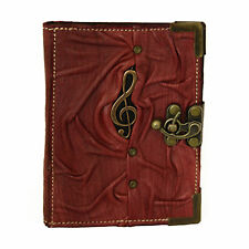Solo Music Pendant on a Purple Refillable Leather Journal / Notebook / Handmade