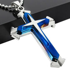 Cross Pendant Men Necklace Chain Stainless Steel Christ Unisex Jewelry Gift