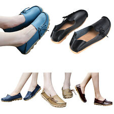 Faux Leather Comfort Casual Walking Bowed Flat Shoes Loafers Moccasin Slide SC