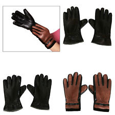 Mens Womens Leather Winter Warm Gloves Full Finger Motorcycle Motorbike Driving