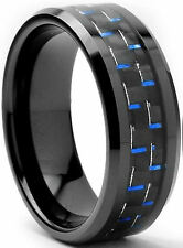 8mm Tungsten Carbide Ring Black w/ Blue Carbon Fiber Mens Band