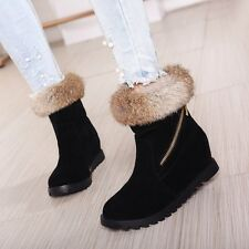 Womens Winter Furry Trim Hidden Wedge Heels Pull On Warm Fu Lined Ankle Boots Sz