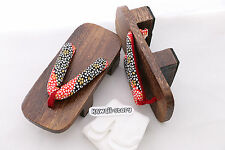K-G-21 Geta red black Japanese Wood Sandal Socks for Kimono Yukata with Heel