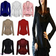 LADIES WOMENS LONG SLEEVES ONE BUTTON FRILL PEPLUM BLAZER JACKET COAT TOP 8-24