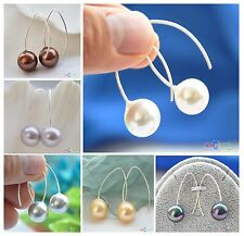 X0086 concise 14mm  round shell pearl dangle earring Standard silver