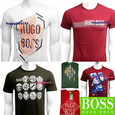 HUGO BOSS NEW Men's T Shirt Crew Neck 100%Cotton Graphic printed Short sleeve