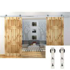 10FT American Double Barn Door Hardware Stainless Steel Sliding Roller Track Kit