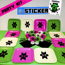 Birthday Party Kit Plates Cups Set Pink Pack with 1 Minecraft official Sticker