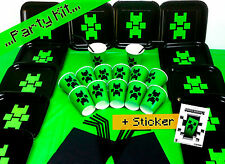 Birthday Black Party Kit Plates Set Cups Pack with 1 Official Minecraft Sticker