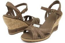 New Women's Timberland Earthkeepers Maeslin Backstrap Wedge Sandal Dark Brown
