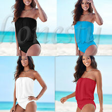 Summer Women Off shoulder Elastic Stomache Jumpsuits Rompers Swimwear Pure color