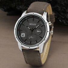 Casual Military  Leather band Analog Quartz Wrist watch Gifts Sport Men Simple