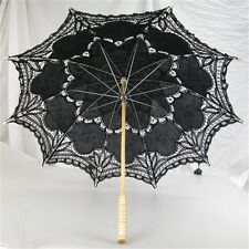 vory/White/Pink/Black Handmade Cotton Lace Parasol Umbrella Bride Wedding UE