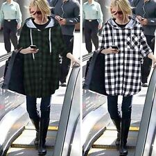 New Fashion Women Hooded Loose Blouses Shirt Casual Plaid lady Long Sleeve Tops