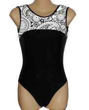 B&W PAISLEY PRINT LEOTARD - GIRLS SIZES 2 to 16 & ADULTS -GYMNASTICS DANCE GYM