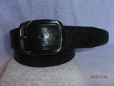 """IDEAL GIFT MENS BLACK / BROWN WITH ANTIQUE EFFECT LEATHER BELT 32""""- 48"""" MB239"""