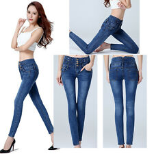 Women's Slim Mid Waisted Skinny Pencil Stretch Jeans Pants Trousers Leggings New