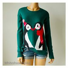 NWT HOLLISTER HCO WOMENS Green Easy-Fit Intarsia Crew Sweater