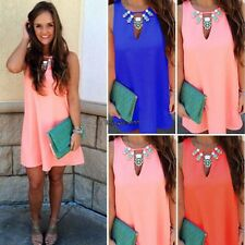 Sexy Women ladies O-Neck Sleeveless Casual Summer Mini Chiffon Sundress New OO55