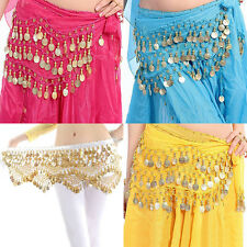 Belly Dance Gold Coin 3 Rows Belt Hip Scarf Skirt Wrap Chain Dancing Costume BDA
