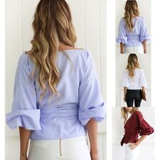 Charming Womens V-Neck Strapless Blouse Casual T-shirt Long Sleeve Top Coats New