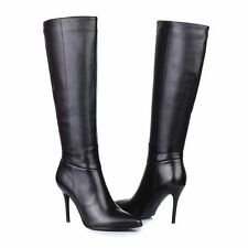 Black Womens Genuine Leather Zip Up High Heel Knee High Boots Shoes All US Size