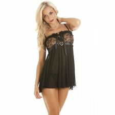 Womens Ladies Sexy Seductive Nightwear Black Babydoll With Mesh Lace Trim Thong