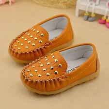 Brown Boys Girls Flat Slip on Loafer Soft Rivet Non-Slip Casual Shoes Toddler