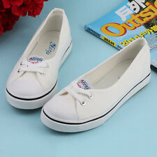 Women Casual Canvas Work Flats Loafers Slip On Soft Fashion Boat Shoes LN