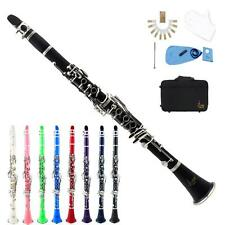 Black Blue Green Pink Purple Red White Bb Clarinet +CareKit+10Reeds+Case V3C3