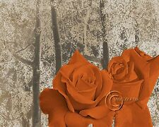 Pair of Roses - Orange Home Decor Picture Wall Art Floral Bedroom-Living Room