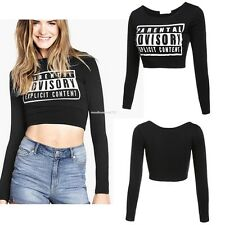 Fashion Women's Teaser Letter Pattern Sexy Temptation Tops Navel-baring Blouse