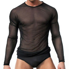 Men's Slim Fit Sexy Mesh Sheer Long Sleeve Gym Tops Casual Stylish T-Shirt SP