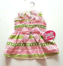 FREE GIFT   New XS M PINK n GREEN POLKA DOT BOW Dog Dress Pet Clothes Puppy Cat