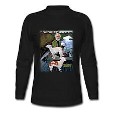 New GOODFELLAS Painting Old Man with Two Dogs Long Sleeve Black T-Shirt S-2XL