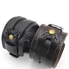 Retro Fashion Gothic PU Leather Buckle Punk Cuff Bangle Wristband Bracelet Gift