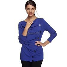 Women Casual Long Sleeve Draped Neck Cotton Blend Blouse Pullover Jumper T NC89