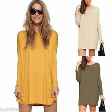 Women Long Sleeve Pullover Tops Blouse Casual Mini Dress Tunic Long Shirt Jumper
